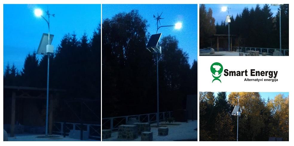 Apšvietimo žibintai nuo saulės baterijos ir vėjo jėgainės