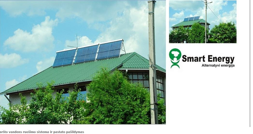 saules kolektoriai karsto vandens ruosimui ir pastato pasildymui
